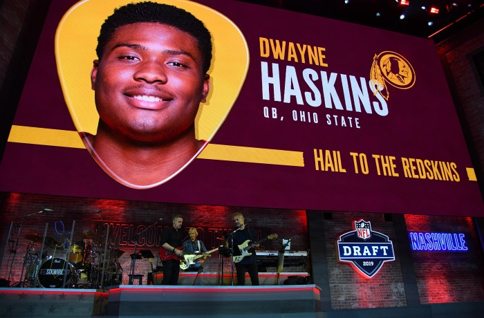 4dad11277e2d Graphic of Dwayne Haskins being selected as the 15th overall pick by the  Washington Redskins in the first round of the 2019 NFL draft in downtown  Nashville