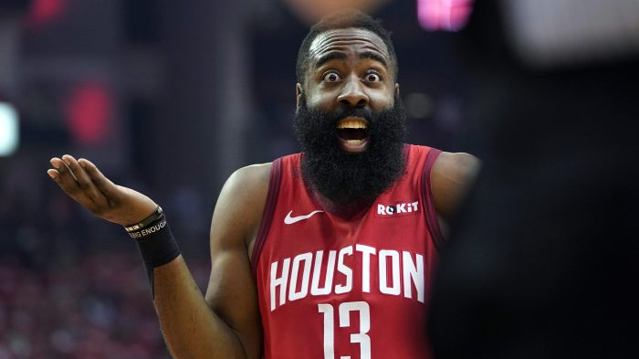 35800f6e8dc1 Houston Rockets guard James Harden reacts to an official s call during the  first half in Game 5 of the playoff series against the Utah Jazz
