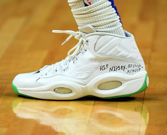 170db10193ac The sneakers worn by Montrezl Harrell of the Los Angeles Clippers featuring  a tribute to rapper Nipsey Hussle