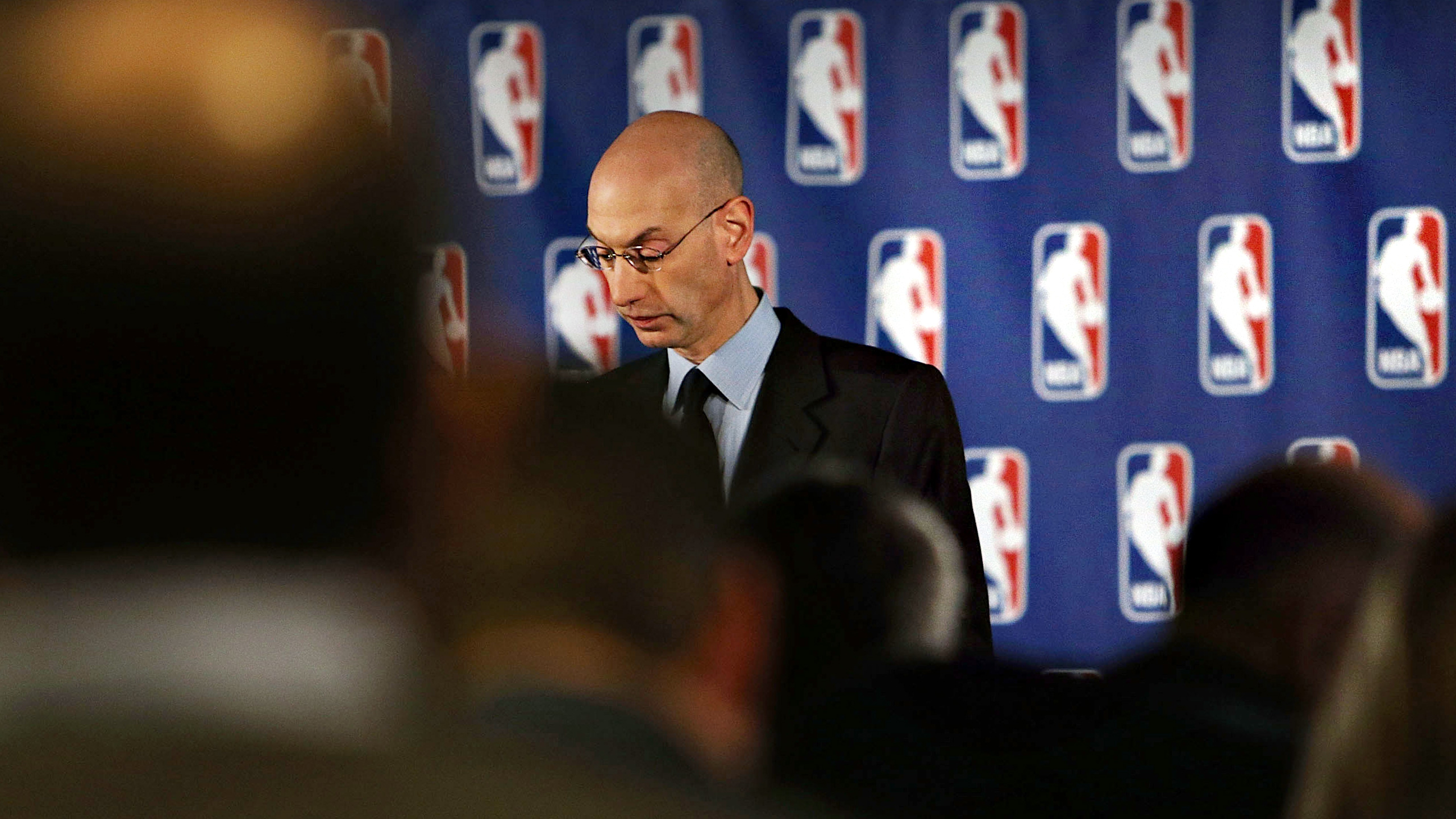 eacafd778b77 NBA Commissioner Adam Silver addresses the media about the investigation  involving Los Angeles Clippers owner Donald Sterling and accusations that  he made ...