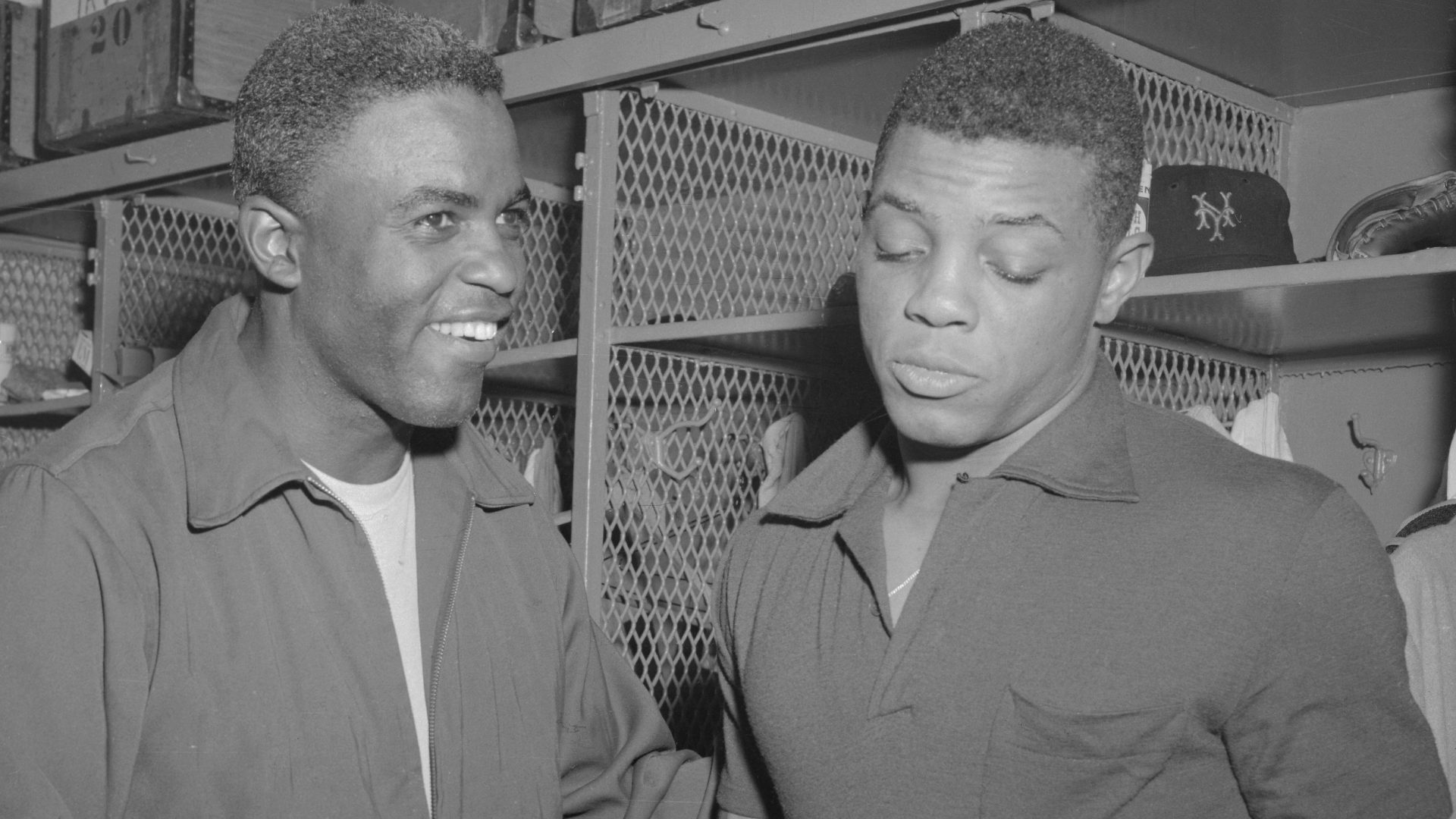 Willie Mays and Jackie Robinson in Locker Room