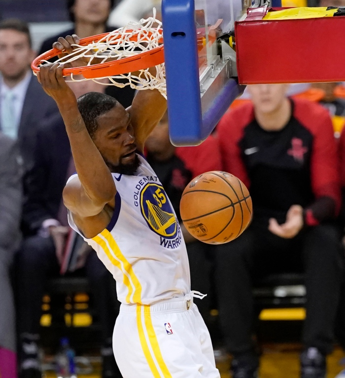 0fd900465ed86c Golden State Warriors forward Kevin Durant dunks the ball against the  Houston Rockets during the second half of their NBA Western Conference  playoff game ...