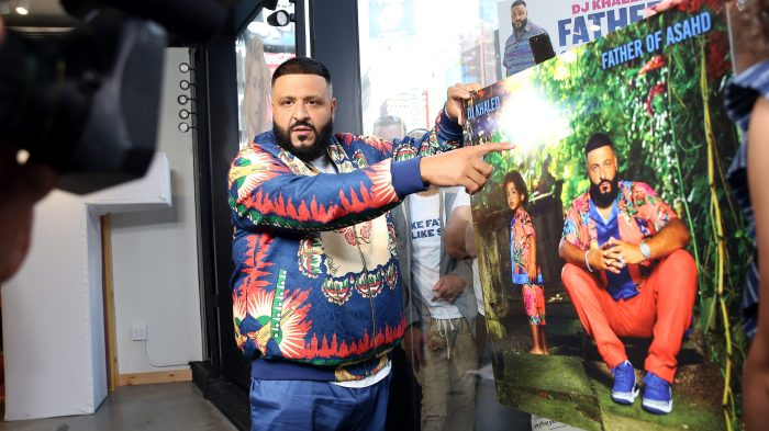 9db57b0c149 DJ Khaled reveals the official cover for his new album Father of Asahd  while visiting Extra at the Levi's Store Times Square on May 15 in New York  City.