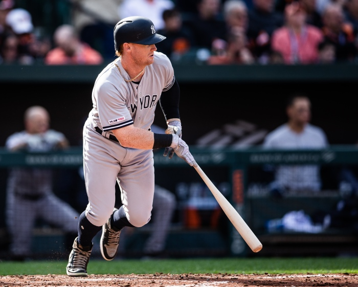 bbf6fecbc57 Clint Frazier of the New York Yankees bats during a game against the  Baltimore Orioles at Camden Yards in Baltimore on April 4.