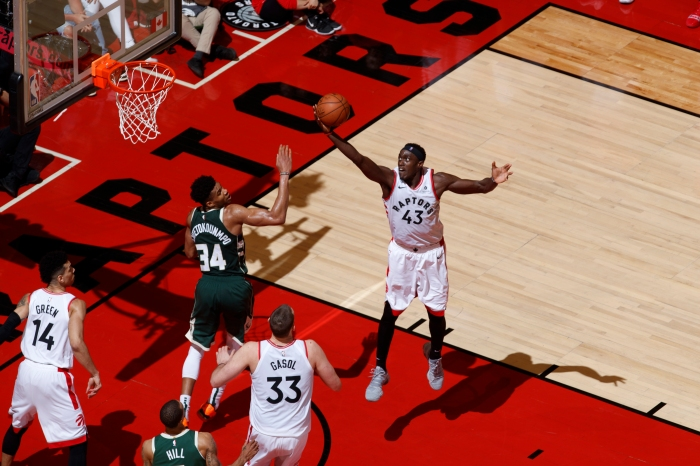b6aca4400 Pascal Siakam  43 of the Toronto Raptors shoots the layup against the  Milwaukee Bucks during Game Three of the Eastern Conference Finals of the  2019 NBA ...