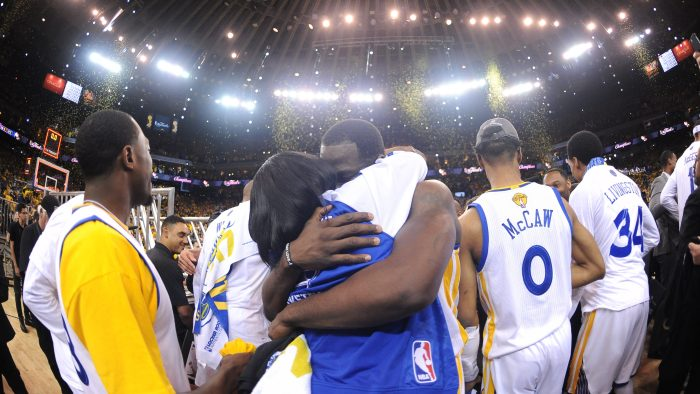 8e7ed9cb616 Draymond Green  23 of the Golden State Warriors celebrates with his Mother  winning the NBA Championship in Game Five against the Cleveland Cavaliers of  the ...