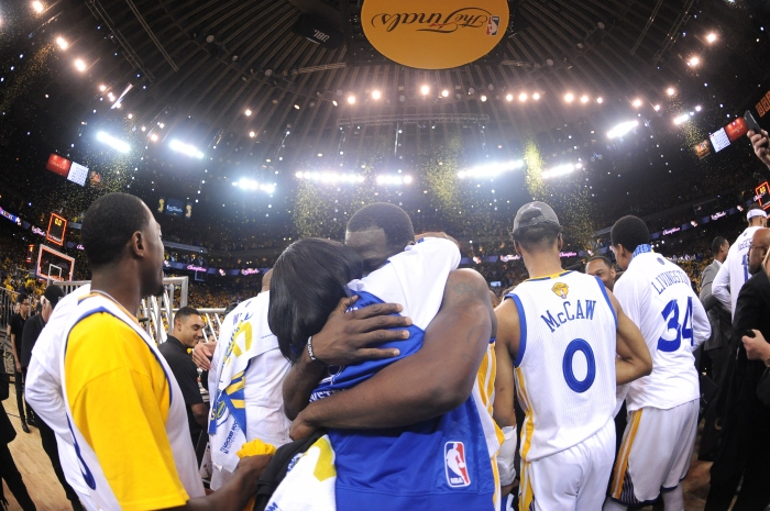 best cheap 18f4d 3d290 Draymond Green of the Golden State Warriors celebrates with his mother,  Mary Babers-Green, after winning the NBA championship in Game 5 of the 2017  NBA ...