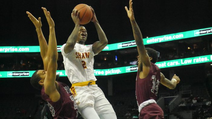 ec81b718d5 Shaw University guard Amir Hinton drive to the basket against Virginia  Union in a semifinal game at the CIAA men's tournament in Charlotte, North  Carolina ...