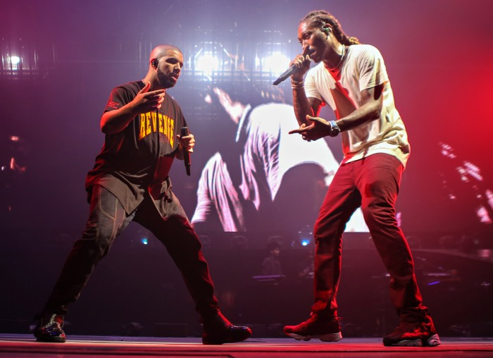 109075be92d6 Drake and Future performing on stage during The Summer Sixteen Tour at  AmericanAirlines Arena on Aug. 30, 2016 in Miami.