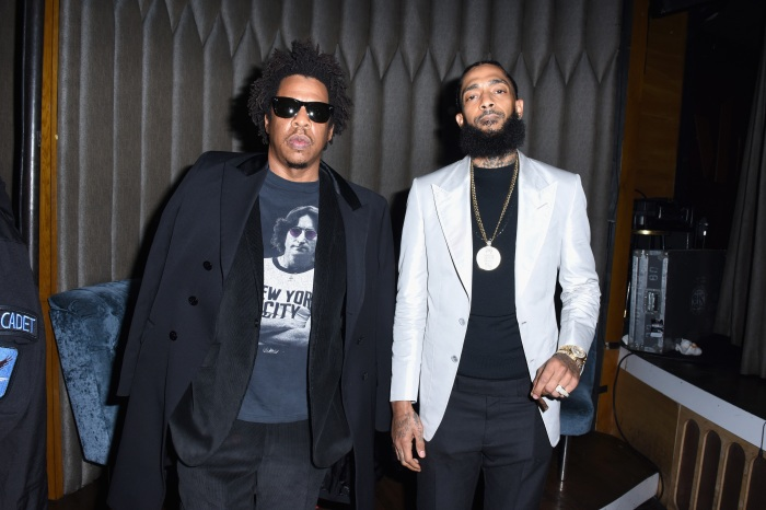 be70f1cd007 Jay-Z (left) and Nipsey Hussle (right) are shown here at the PUMA x Nipsey  Hussle 2019 Grammy Nomination Party at the Peppermint Club in Los Angeles  on Jan.