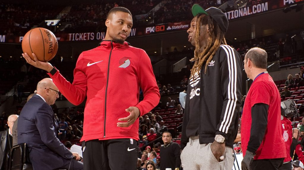 Lil Wayne supports Damian Lillard — on the court and in the studio