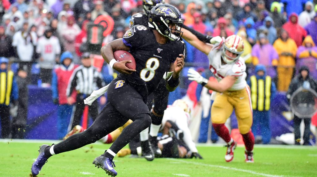 Lamar Jackson punctuates MVP candidacy by tackling NFL's best defense