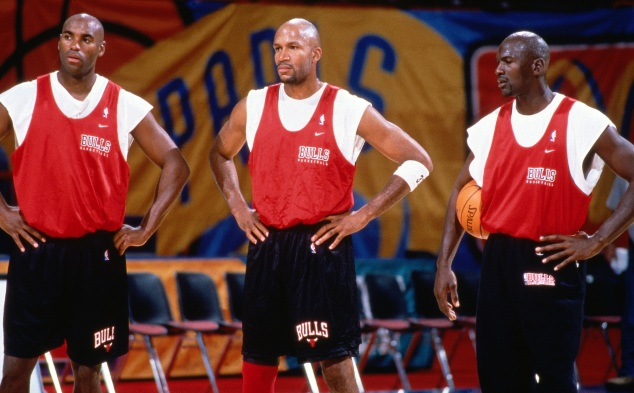 Scott Burrell, Michael Jordan and Ron Harper Practice Portrait
