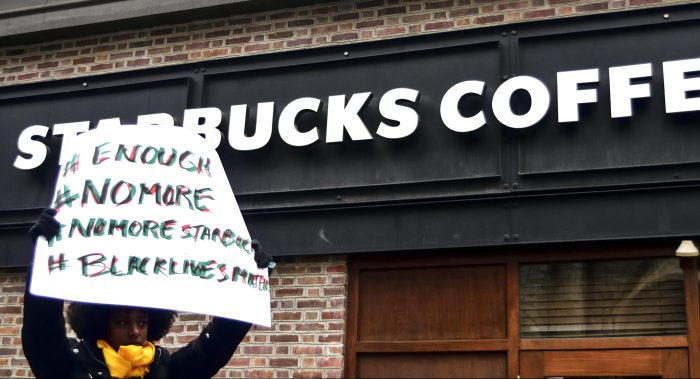 Anti-Racism Protest at Starbucks in Philadelphia, PA