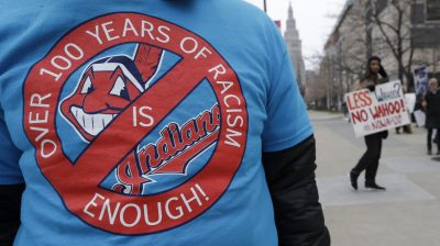 Indians Wahoo Protest Baseball