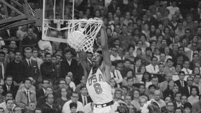 Olympic Player Spencer Haywood Scoring Basket