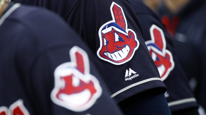 Indians-Chief Wahoo Dropped Baseball