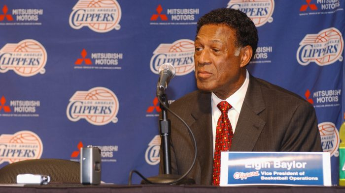 Elgin Baylor talks to the press