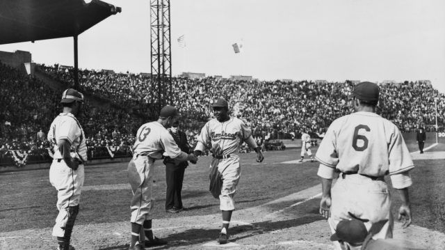 Jackie Robinson After Hitting a Homer